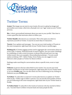 A list of Twitter terms and their definitiions
