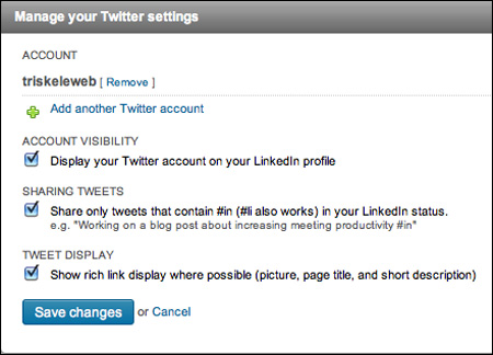 Manage Twitter in your LinkedIn Settings